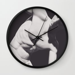 Discobolus, Fine art photo for home decor, interior decoration, black & white photography, roman statue, greek art Wall Clock