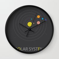 solar system Wall Clocks featuring Solar System by Loaded Light Photography