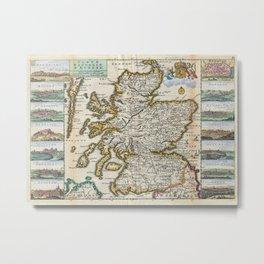 Vintage Map of Scotland (1747) Metal Print