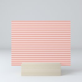 Pantone Living Coral Horizontal Line Patterns on White 2 Mini Art Print