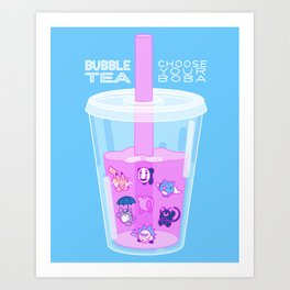 Bubble Tea - Choose Your Boba (Famous Anime and Cartoon Characters) Art Print