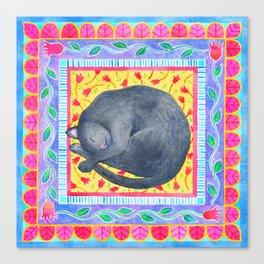 Sleepy Grey Cat Canvas Print