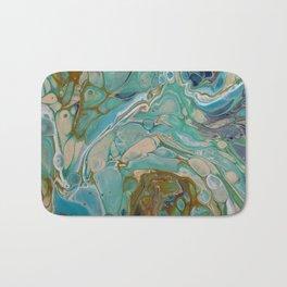 Colorful Blue Fluid Acrylic Painting Bath Mat