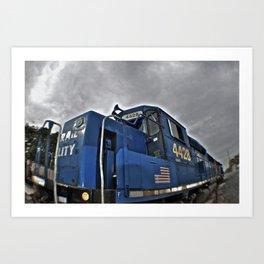 Cloudy day train Art Print