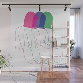 MOVING IN COLOUR - Nude lady line drawing - Minimal line art - Nude art print Wall Mural