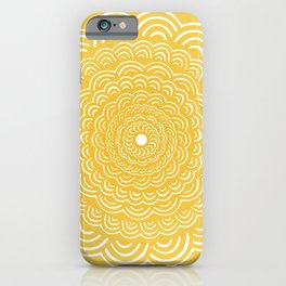 Spiral Mandala (Yellow Golden) Curve Round Rainbow Pattern Unique Minimalistic Vintage Zentangle iPhone Case