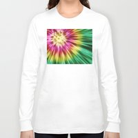 tie dye Long Sleeve T-shirts featuring Abstract Green Tie Dye by Phil Perkins