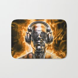 Disco god portrait / 3D render of silver male figure with headphones and disco shades engulfed in fl Bath Mat