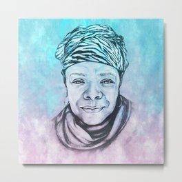 Maya Angelou Portrait on Blue and Pink Metal Print