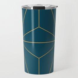 Peacock blue geometrical pyramid Travel Mug