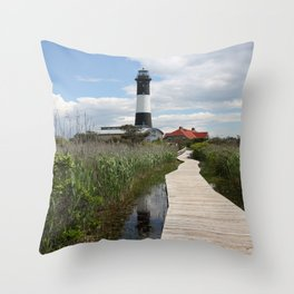 Fire Island Light With Reflection - Long Island Throw Pillow