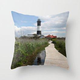 Fire Island Light With Reflection - Long Island Throw Pillow