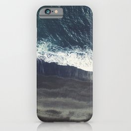 Top view aerial photo of volcanic black sand beach and beautiful waves of Indian ocean. Beautiful natural ocean photo iPhone Case