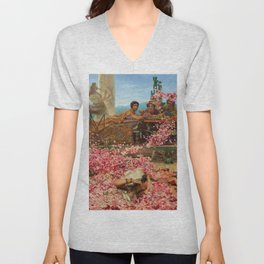 1888 Classical Masterpiece 'The Roses of Heliogabalus' by Sir Lawrence Alma-Tadema Unisex V-Neck