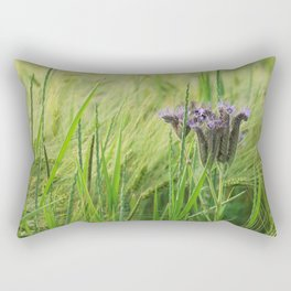 phacelia in a barley field Rectangular Pillow