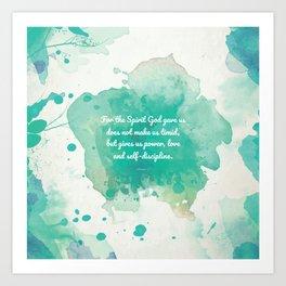 2 Timothy 1:7, Inspiring Bible Verse Art Print