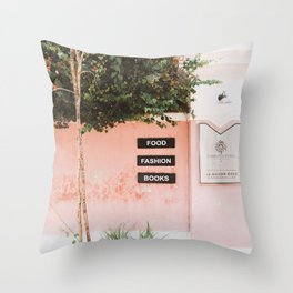 Pink Wall With Tree in Pondicherry, India | Travel Photography | Throw Pillow