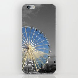 Paris black and white with color Gold iPhone Skin