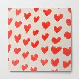 Cute Orange Hearts Patterm Metal Print