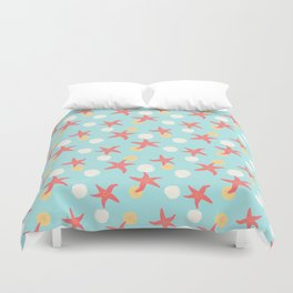 Salish Starfish in Aqua Duvet Cover