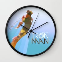 iron giant Wall Clocks featuring Iron by Ed Burczyk