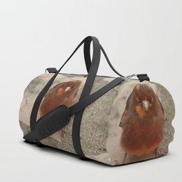 Cute runaway canary bird Duffle Bag