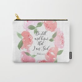 Be Still Pink Peony Wreath Carry-All Pouch
