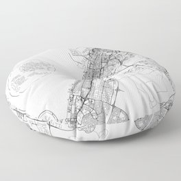 Dubai White Map Floor Pillow