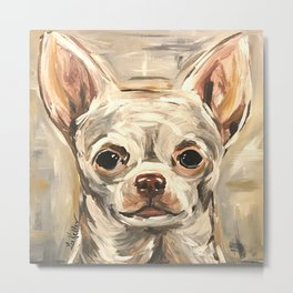 Cute Chihuahua Painting, Neutral Dog Painting Metal Print