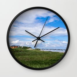 Yellow House on the Ocean Dunes Wall Clock