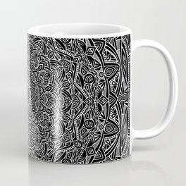 Most Detailed Mandala! Black and White Color Intricate Detail Ethnic Mandalas Zentangle Maze Pattern Coffee Mug