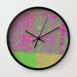 City Grid in Orchid-Lime Wall Clock