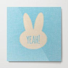 Yeah Rabbit Blue Metal Print