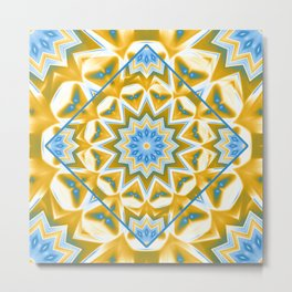 Wheel cover kaleidoscope in blue and gold Metal Print