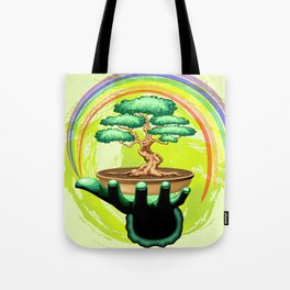 Bonsai Tree and Rainbow on Green Hand - Protecting Nature Tote Bag