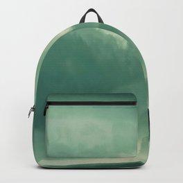 Turquoise Green Monochromatic Mist Misty Pine Forest Field Landscape Backpack