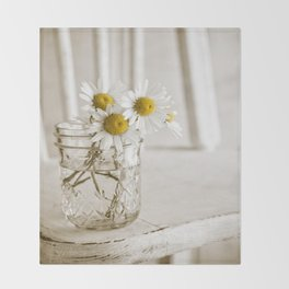 Simple White Daisy Flowers Throw Blanket
