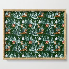 Corgis in the winter mountains - green pattern Serving Tray