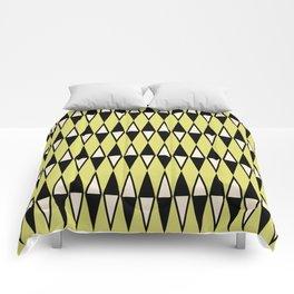 Mid Century Modern Diamond Pattern Black Chartreuse 231 Comforters