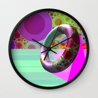 karen hallion Wall Clocks featuring 2in1 Pattern Mix, Karen by MehrFarbeimLeben
