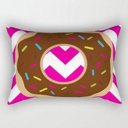 Donut on Pink & White Rectangular Pillow