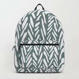 Boho chevron herringbone pattern - moss green and white Backpack