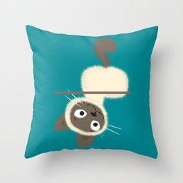 Funny Siamese Kitten upside down Throw Pillow