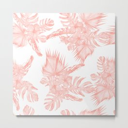 Tropical Hibiscus and Palm Leaves Coral White Metal Print