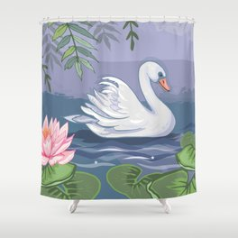 Swanning Around Shower Curtain