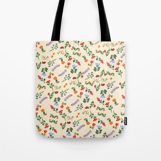 Bright Vintage Flower Pattern Tote Bag