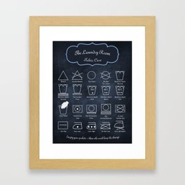 The Laundry Room Fabric Care Guide - Blue Framed Art Print