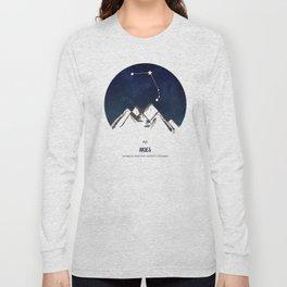 Astrology Aries Zodiac Horoscope Constellation Star Sign Watercolor Poster Wall Art Long Sleeve T-shirt