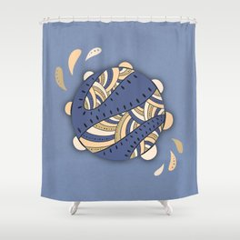 Music Fun / Tambourine / Brown & Blue Shower Curtain