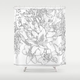 Large flowers pencil effect Shower Curtain
